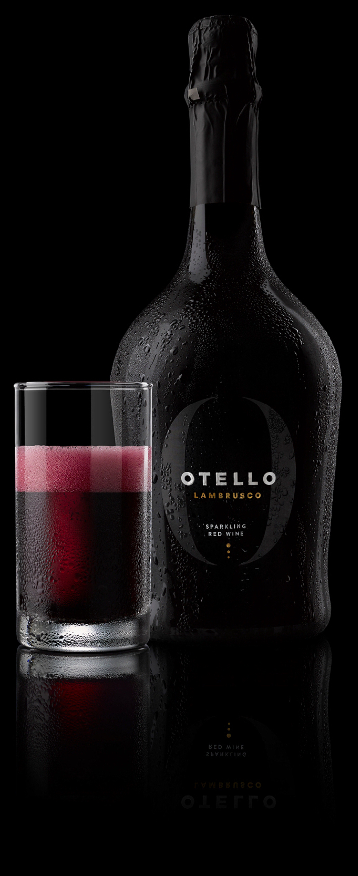 Otello Lambrusco bottle and glass